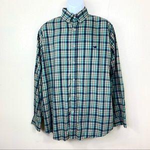 Southern Marsh Men's Shirt Green Plaid Buttons